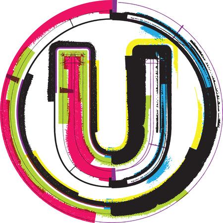 Colorful Grunge Font LETTER U Ilustração