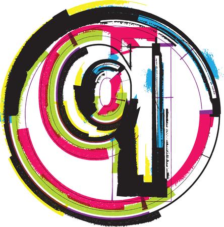 letter q: Colorful Grunge Font LETTER q