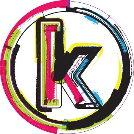 buchstabe k: Colorful Grunge Schriftart Buchstaben K Illustration