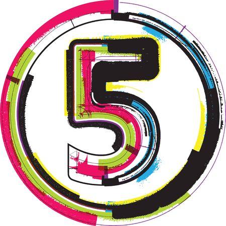 number 5: Colorful Grunge Font NUMBER 5 Illustration
