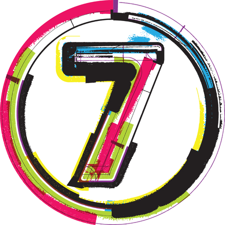 number 7: Colorful Grunge Font NUMBER 7