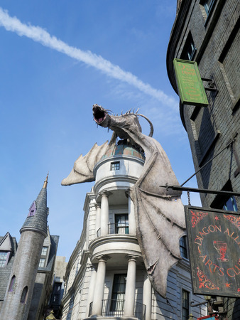 harry: Dragon at Diagon Alley near the Harry Potter ride at Universal Studios Florida theme park Editorial