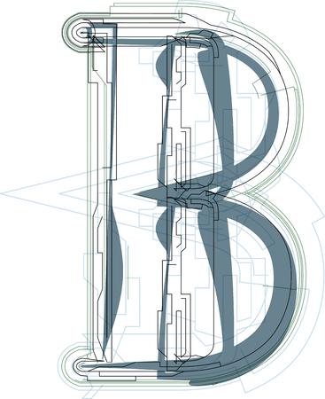 uppercase: Font illustration uppercase LETTER B