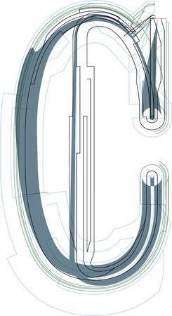 uppercase: Font illustration uppercase LETTER C Illustration