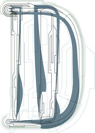 uppercase: Font illustration uppercase LETTER D Illustration