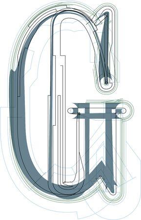 uppercase: Font illustration uppercase LETTER G Illustration