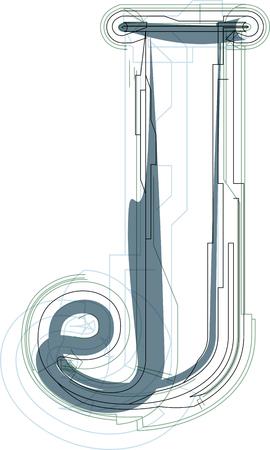 uppercase: Font illustration uppercase LETTER J