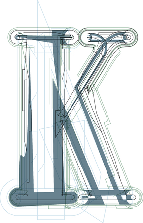 uppercase: Font illustration uppercase LETTER K