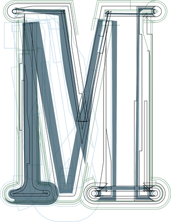 uppercase: Font illustration uppercase LETTER M