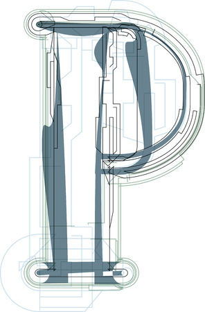 uppercase: Font illustration uppercase LETTER P