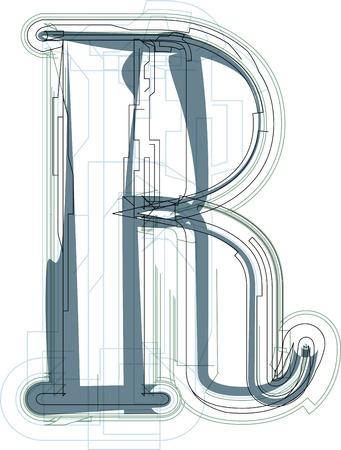 uppercase: Font illustration uppercase LETTER R Illustration