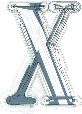 uppercase: Font illustration uppercase LETTER X
