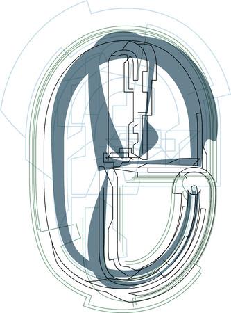 letter e: Font illustration lowercase LETTER e Illustration