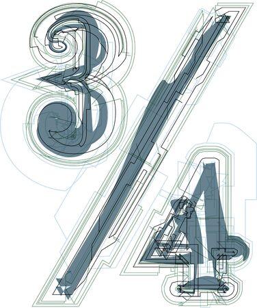 quarters: Abstract three quarters sign vector illustration Illustration
