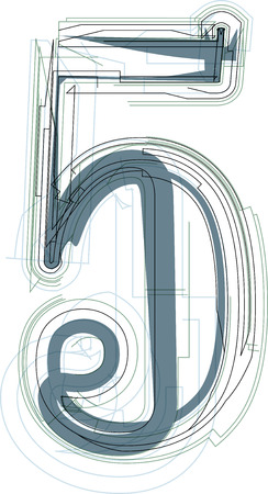 number 5: Vector Illustration of Abstract Number 5