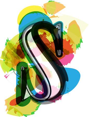 letra s: Fuente art�stica del vector Ilustraci�n - Carta s