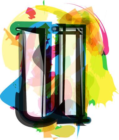 Artistic Font vector Illustration - Letter u