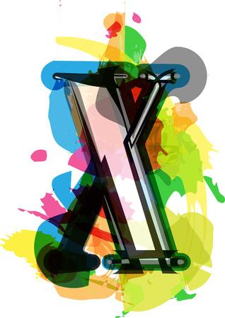 artistic font: Artistic Font vector Illustration - Letter x