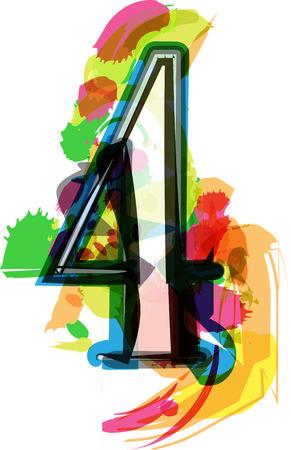 number 4: Artistic Font vector Illustration - Number 4