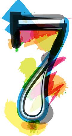 number 7: Artistic Font vector Illustration - Number 7