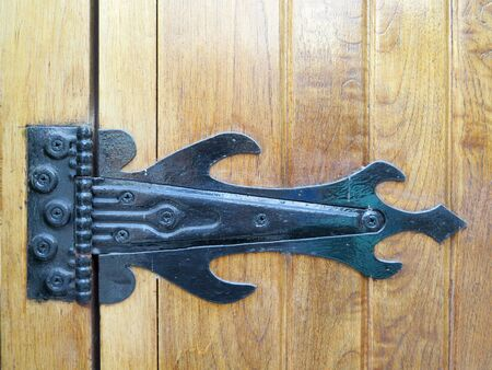 hinge joint: Very old ironwork hinges at wooden blinds