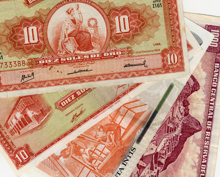 papermoney: Pile of old peruvian currency banknotes background