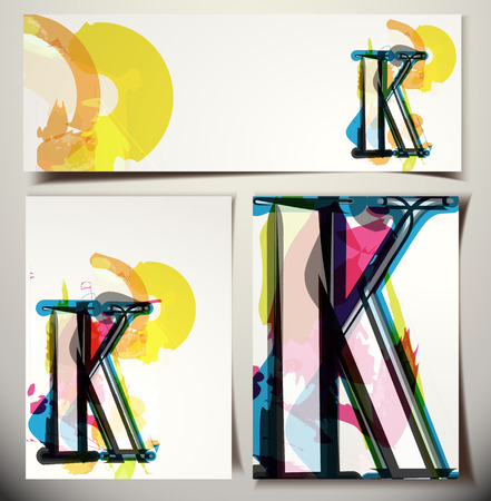 buchstabe k: K�nstlerische Gru�karte Font vector Illustration - Buchstabe K Illustration