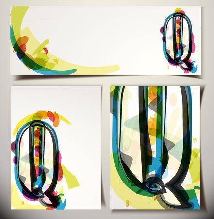 letter q: Artistic Greeting Card Font vector Illustration - Letter Q