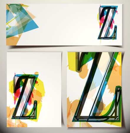 buchstabe z: K�nstlerische Gru�karte Font Vektor-Illustration - Buchstabe Z