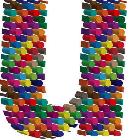 three dimension shape: Colorful three-dimensional font letter u Illustration