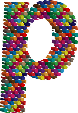 three dots: Colorful three-dimensional font letter p
