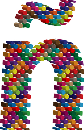 three dimension shape: Colorful three-dimensional font letter ñ Illustration