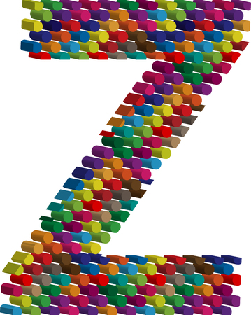 buchstabe z: Bunte dreidimensionale font letter Z Illustration
