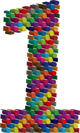 three dimension shape: Colorful three-dimensional font number 1