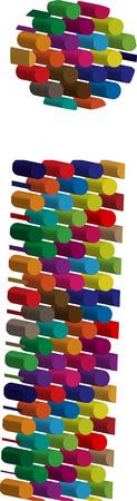 three dimension shape: Colorful three-dimensional font letter i Illustration