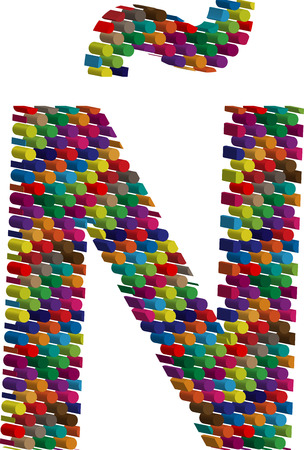 three dimension shape: Colorful three-dimensional font letter Ñ