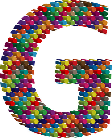 three dimension shape: Colorful three-dimensional font letter G