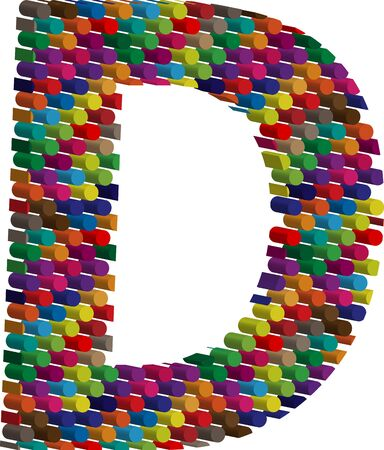 three dimension shape: Colorful three-dimensional font letter D