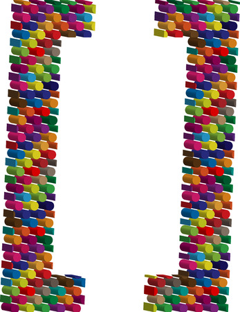 punctuation mark: Colorful three-dimensional symbol Illustration