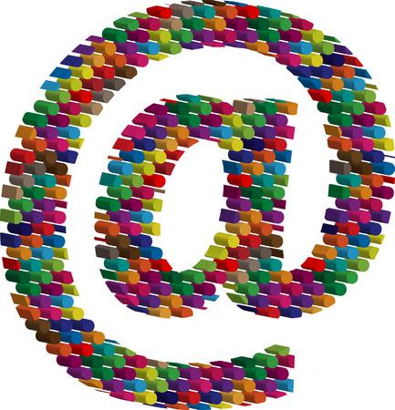 arobase: Colorful three-dimensional symbol Illustration