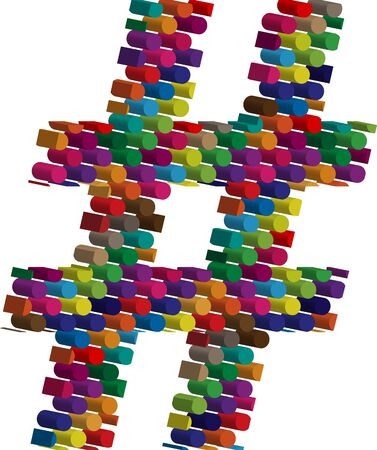 three dimension shape: Colorful three-dimensional symbol Illustration