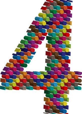 number 4: Colorful three-dimensional font number 4 Illustration