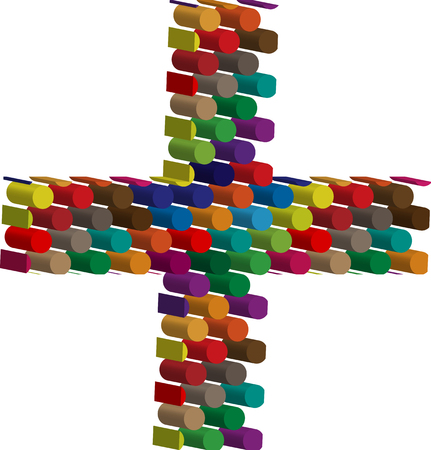 three dots: Colorful three-dimensional symbol Illustration