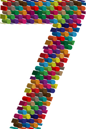 three dots: Colorful three-dimensional font number 7