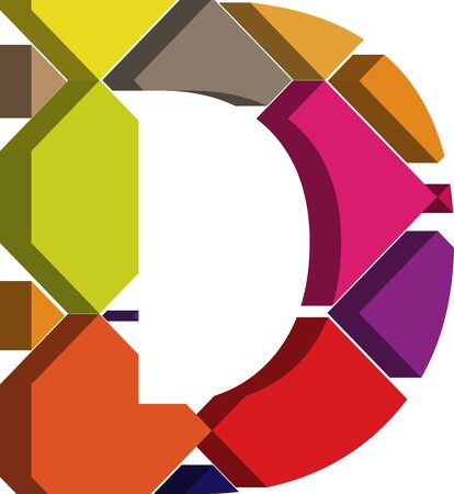 letter d: Colorful three-dimensional font letter D
