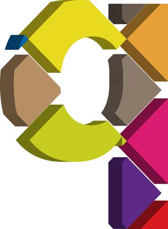 three dimension shape: Colorful three-dimensional font letter q Illustration