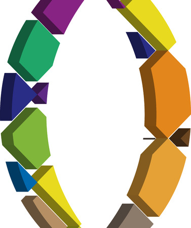 three dimension shape: Colorful three-dimensional font bracket Symbol