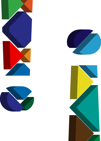three dimension shape: Colorful three-dimensional EXCLAMATION MARK Symbol Illustration