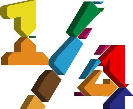 punctuation mark: Colorido tridimensional 14 S�mbolo