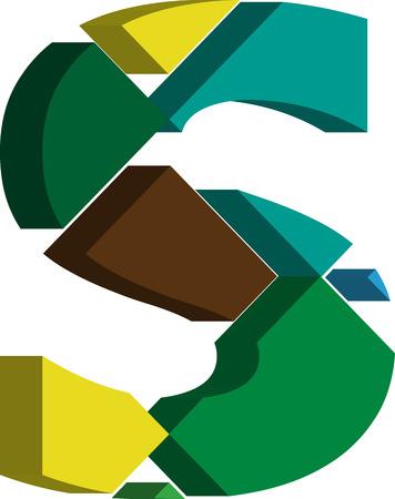 letra s: Colorido tridimensional carta de letra s